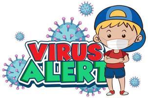 design de cartaz de coronavírus para alerta de vírus de palavra com menino usando máscara vetor