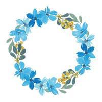 coroa de flores em aquarela pétala azul vetor