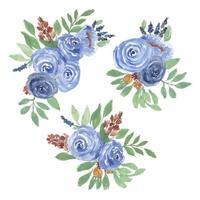 conjunto de arranjo floral rosa aquarela vetor