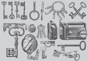 Desenhos chave do vintage vetor
