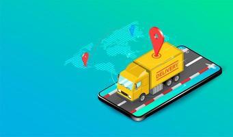 entrega expressa por caminhão com sistema de comércio eletrônico no smartphone vetor