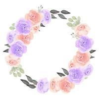 quadro de círculo de grinalda floral com aquarela flor rosa