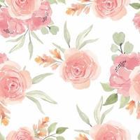 aquarela sem costura padrão com flor rosa rosa vetor