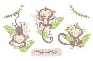 bebê macaco com conjunto de pano de fundo floral