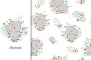 bebê rinoceronte com pano de fundo floral