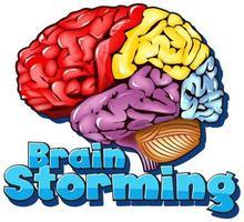 design de fonte para palavra brainstorming com cérebro colorido vetor