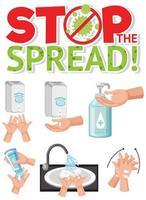mão de limpeza para parar o vírus corona vetor
