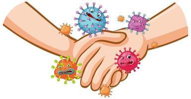 design de cartaz de coronavírus com aperto de mão e germes nas mãos vetor