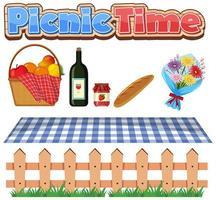 design de fonte para a hora do piquenique com comida e flores vetor