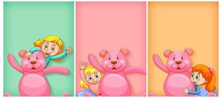 fundo liso com menina feliz e urso de pelúcia rosa vetor