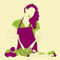 mulher abstrata, preparando uma salada