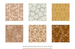 coleção de padrões botânicos desenhada de mão com flores e folhas vetor