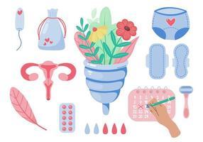 conjunto de vetores de produtos de higiene feminina