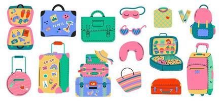 conjunto de várias malas de viagem