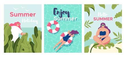 conjunto de cartão com garota relaxante na praia