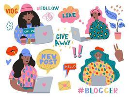meninas engraçadas bonitos ou blogueiros com laptop vetor