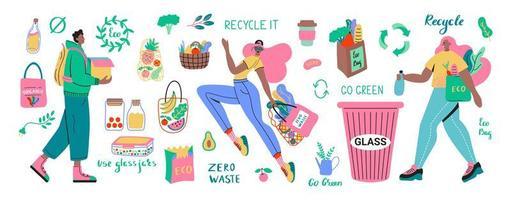 coleta zero de resíduos com caracteres e produtos
