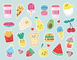 etiquetas bonitos dos desenhos animados da comida
