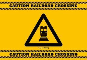Sinal de precaução de cruzamento ferroviário vetor