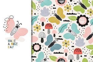 padrão de borboleta colorida com tenha uma citação de bom dia