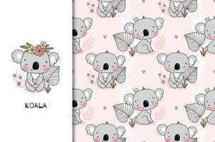 padrão sem emenda com bebê koala sorridente vetor
