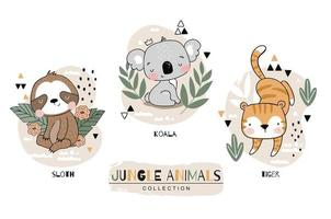 conjunto de animais da selva dos desenhos animados