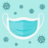 máscara azul para proteger do coronavírus pôster vetor