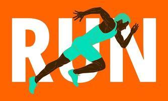 design colorido com homem em pose de corrida vetor