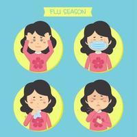 mulheres dos desenhos animados com conjunto de gripe