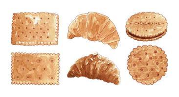 conjunto de biscoitos e croissants em aquarela vetor
