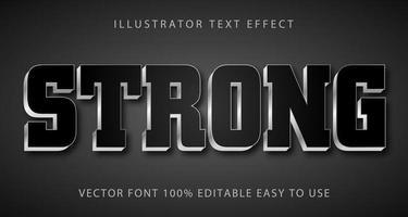 preto forte, efeito de texto metálico prateado vetor