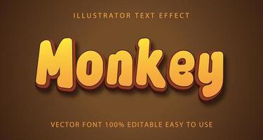 efeito de texto de macaco amarelo, marrom vetor