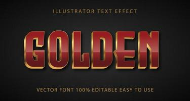marrom, efeito de texto com sotaque dourado vetor