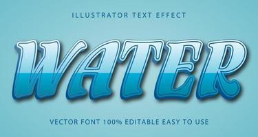 efeito de texto azul claro de água vetor