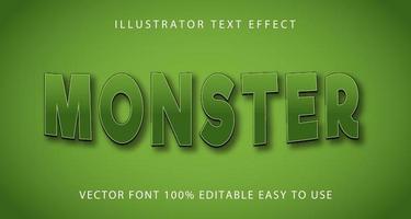 efeito de texto de monstro curva verde vetor