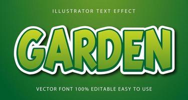 efeito de texto de bloco verde jardim vetor