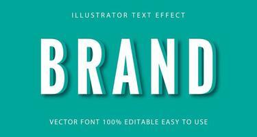 marca branca, efeito de texto verde-azulado vetor