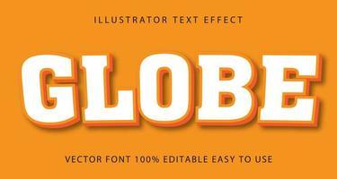efeito de texto globo alinhado branco e laranja vetor
