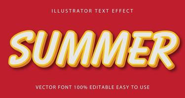 efeito de texto de verão com linhas brancas e amarelas vetor