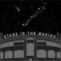 estádio de beisebol sob o céu estrelado vetor