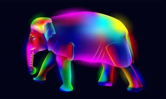 vibrante, brilhante, iluminado, néon elefante colorido vetor