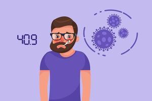 jovem barbudo com sintoma de febre de coronavírus