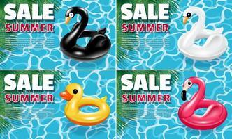 banners venda verão conjunto com carros alegóricos de pássaros vetor
