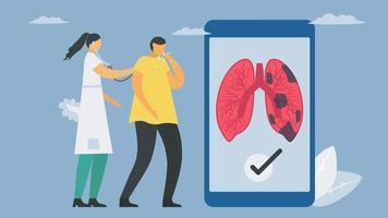tecnologia móvel para diagnóstico pulmonar vetor