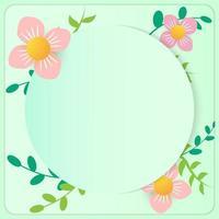 quadro de círculo e flores de corte de papel vetor
