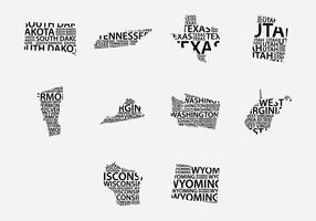 Conjunto de mapas de palavras da América vetor