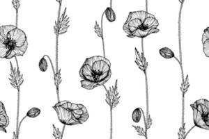 folhas e flor de papoula desenhada mão padrão sem emenda vetor