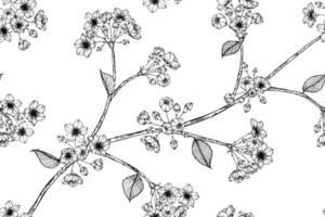 mão desenhada sem costura padrão flor de cerejeira e folhas vetor