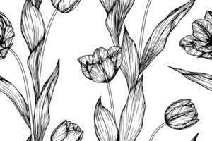 folhas e flor de tulipa desenhada mão padrão sem emenda vetor