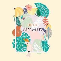 quadro de verão com papagaio, bananas e flores